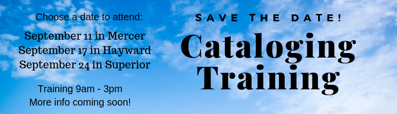 Save the date! Cataloging training coming soon!